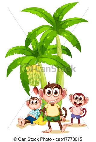 318x470 Illustration Of The Three Monkeys Near The Banana Plants