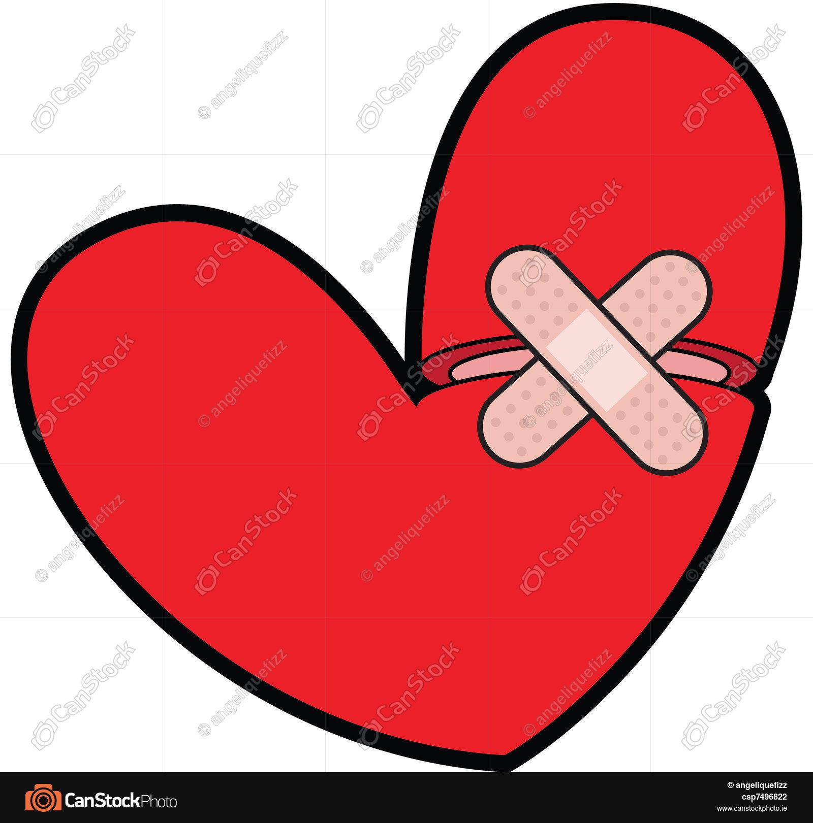 1600x1621 Broken Heart With Bandaid. Mending A Broken Heart With A Clip