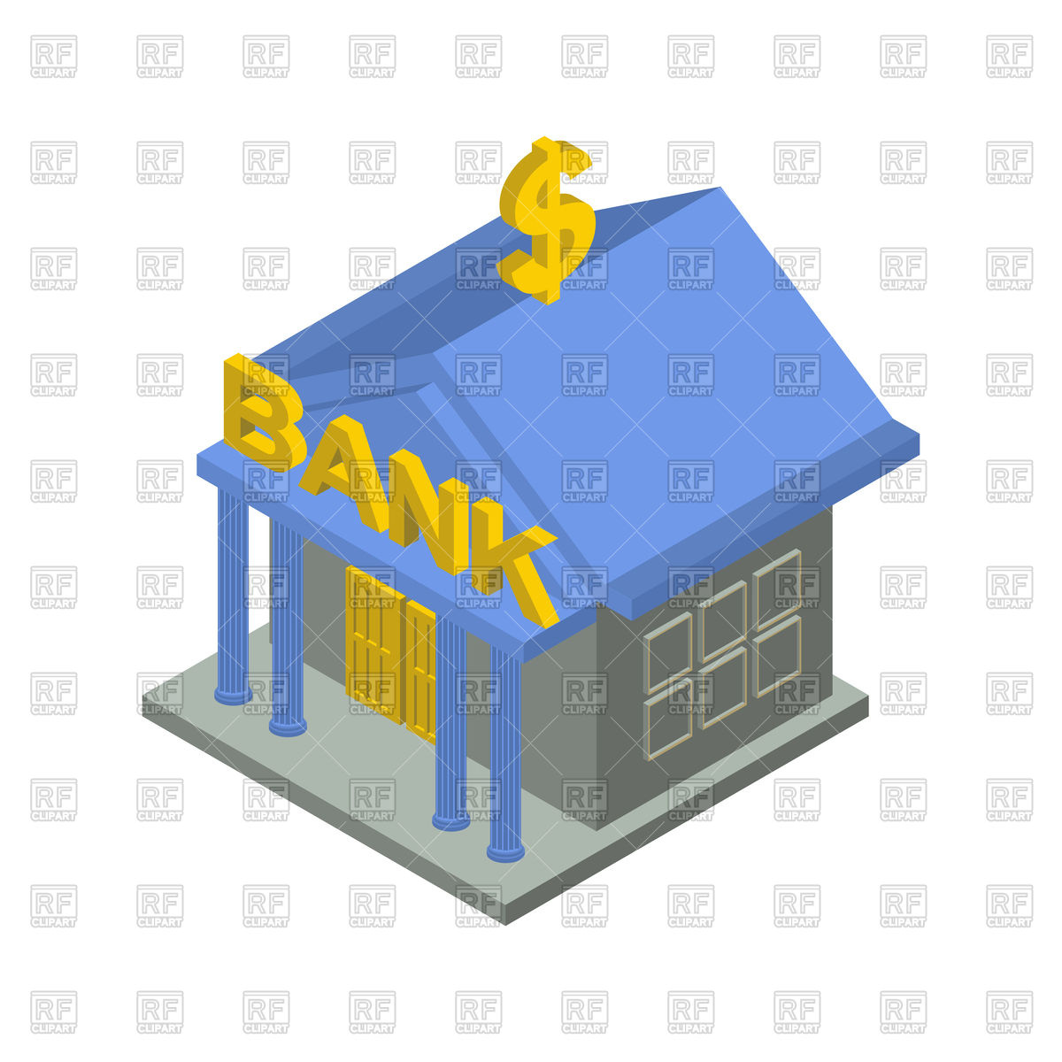 1200x1200 Bank Building Isometric Royalty Free Vector Clip Art Image