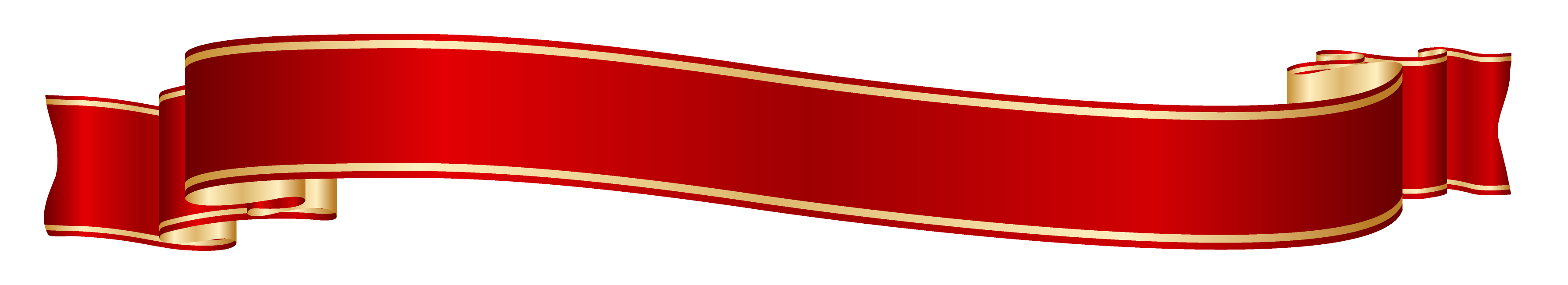 3576x651 Red And Gold Banner Png Clipart Picture