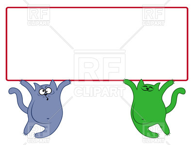 400x300 Amusing Thick Cats Hold Large Rectangular Banner Royalty Free