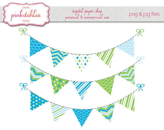 570x453 Boy Bunting Banner Clip Art Graphics Flag Banner Blue Green Baby