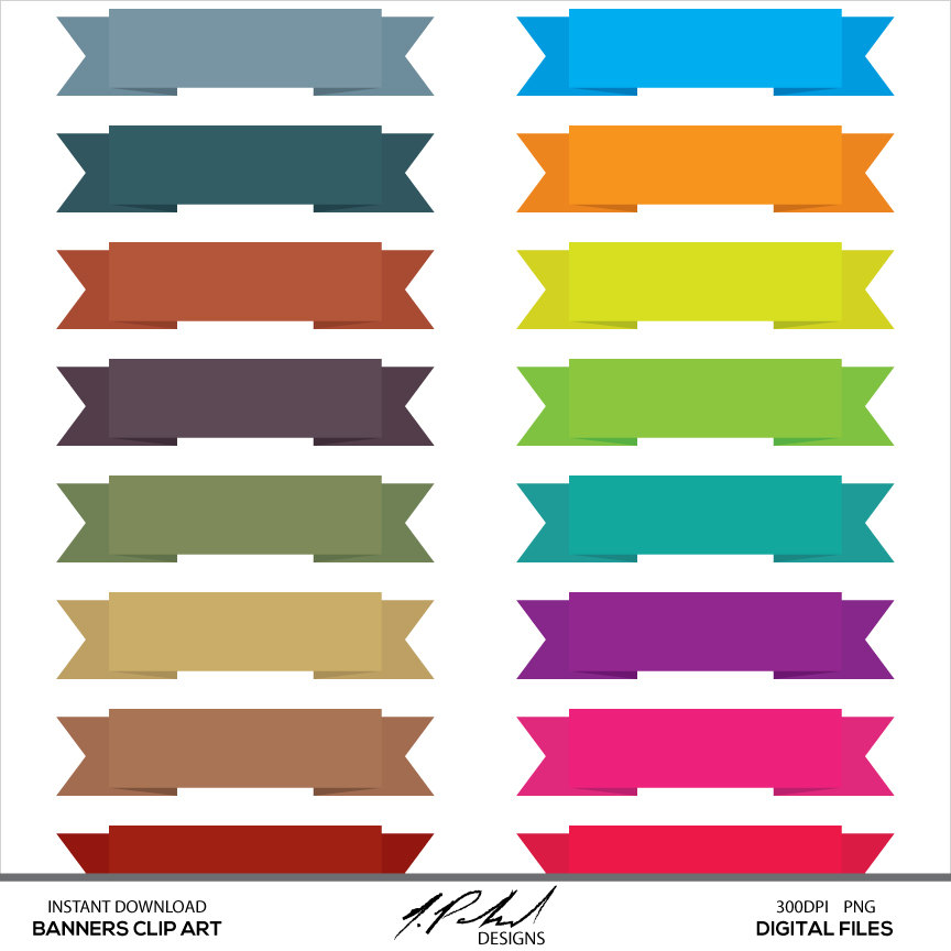 864x864 Straight Banner Clipart