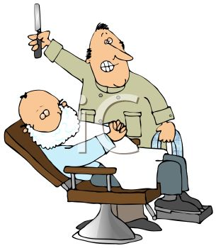 305x350 Cartoon Of A Barber Giving A Customer A Shave