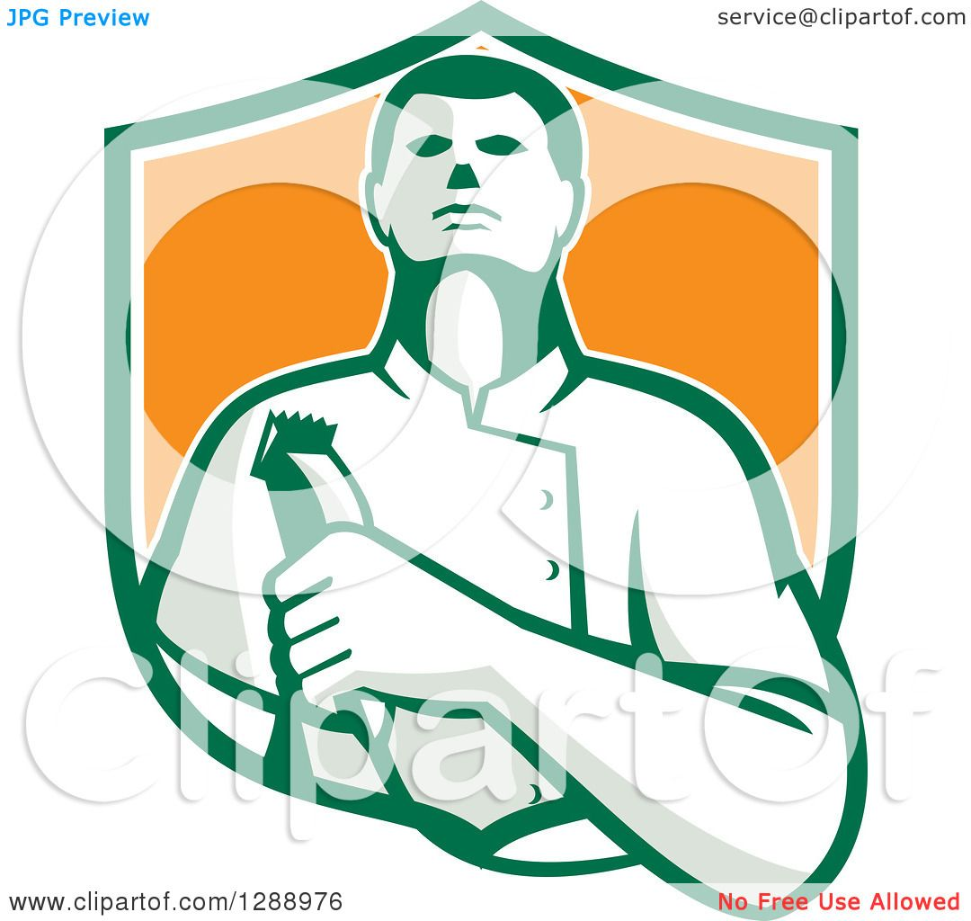 1080x1024 Clipart Of A Retro Male Barber Holding Clippers In A Green White
