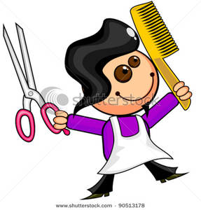 287x300 Royalty Free Clipart Image A Smiling Barber With Scissors And A Comb
