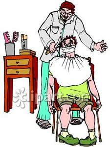 225x300 A Sandal Wearing Barber Preparing To Shave Customer In Chair