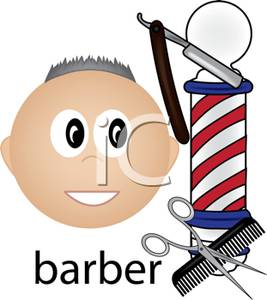 267x300 A Smiling Barber Next To A Barber Pole And Grooming Supplies