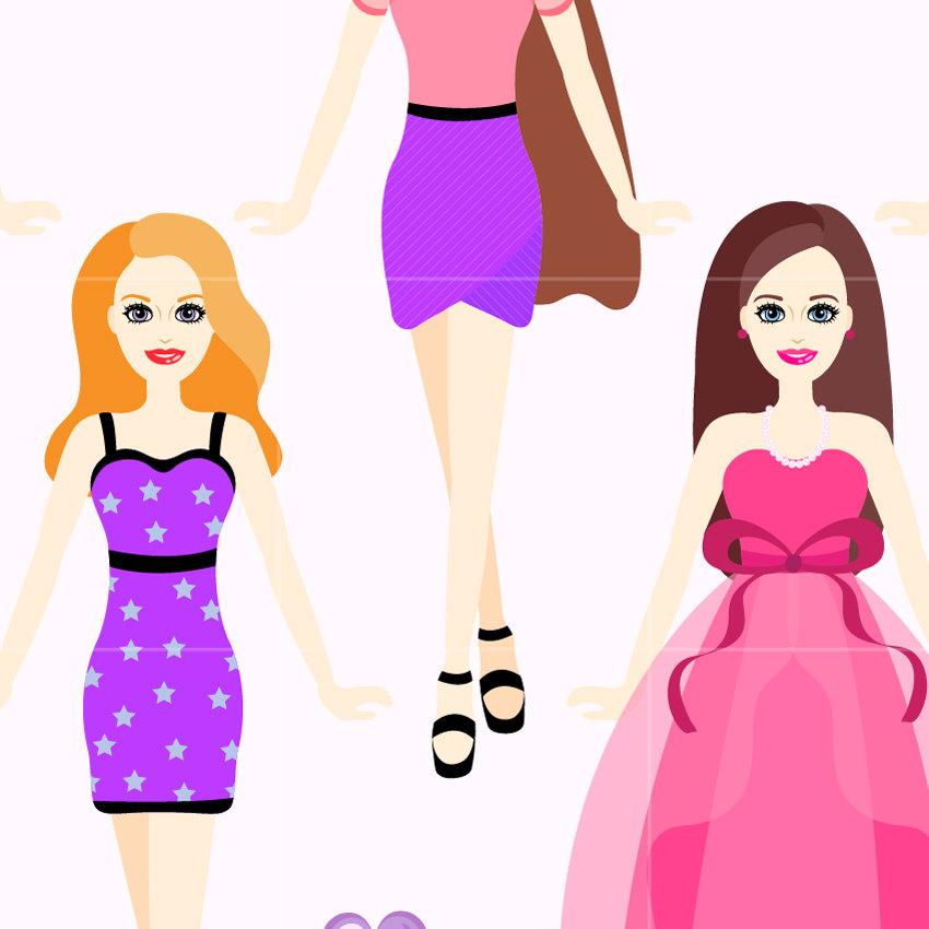850x850 Doll Digital Clip Art Fashion Dolls Digital Clipart Design