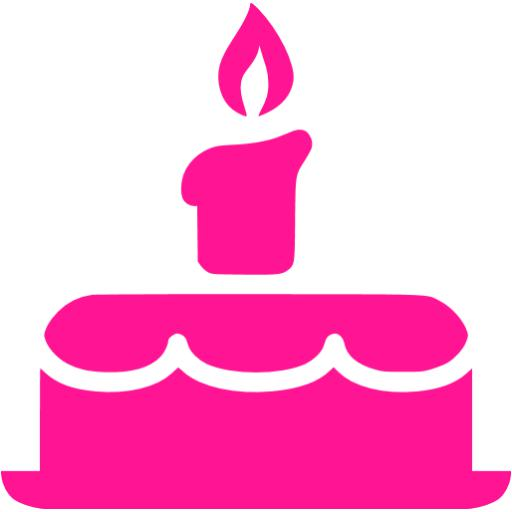 512x512 Deep Pink Birthday Cake Icon
