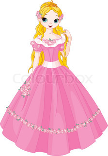 223x320 Illustration Of Beautiful Pink Princess With Rose Stock Vector