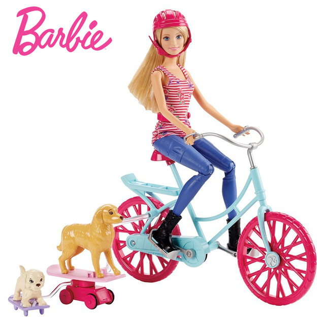 640x640 Original Barbie Doll Chelsea Princess Ride Bicycle Dog Play