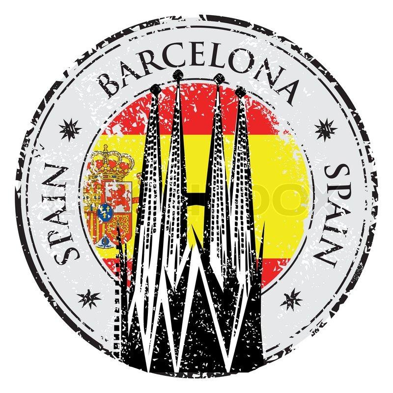 800x800 Grunge Rubber Stamp Barcelona, Spain, Vector Illustration