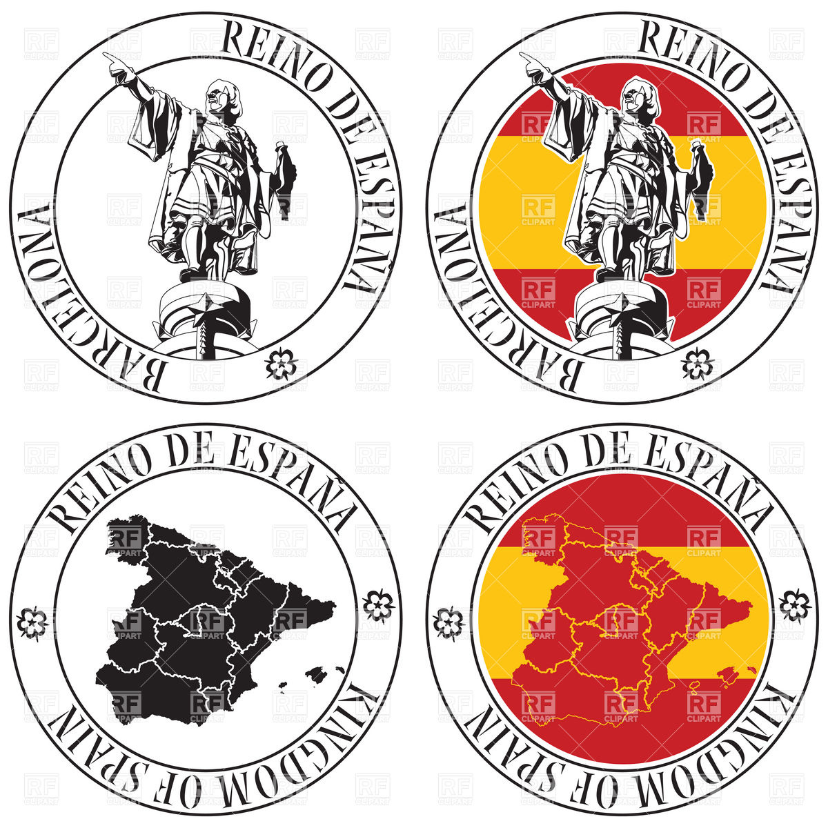 1200x1200 Travel Stamps Set Barcelona, Catalonia And Spain Theme Royalty