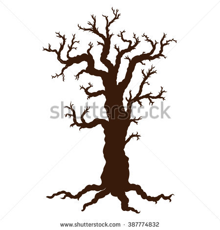 450x470 Spooky Halloween Tree Clip Art. Dark Wood Clipart Forest