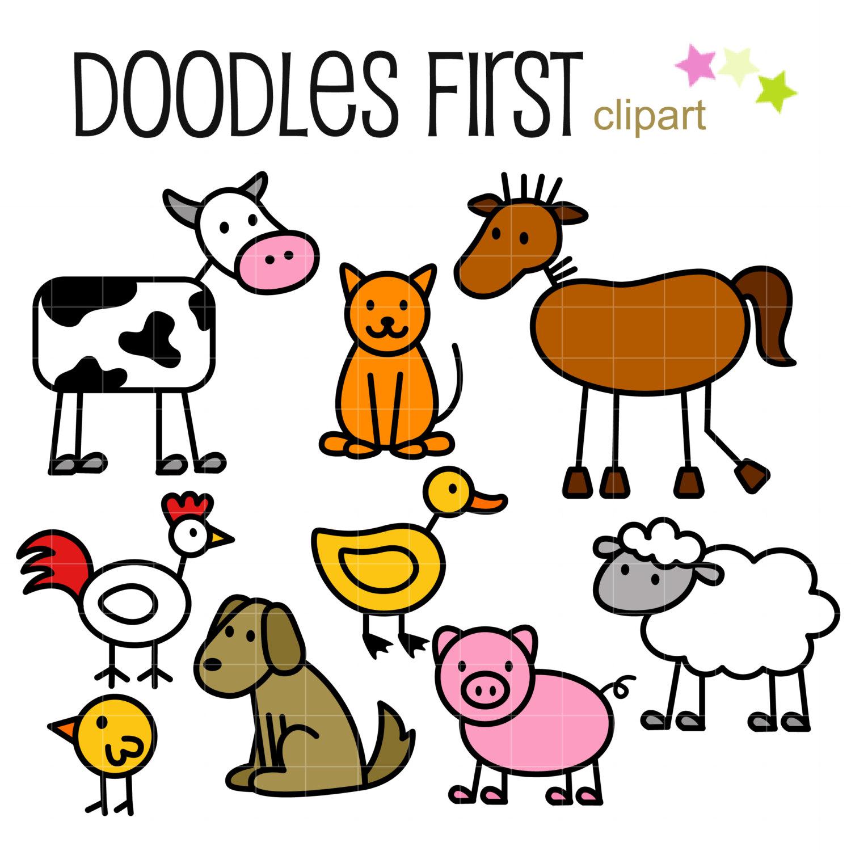 1500x1500 Stick Farm Animals Doodles Digital Clip Art For Scrapbooking