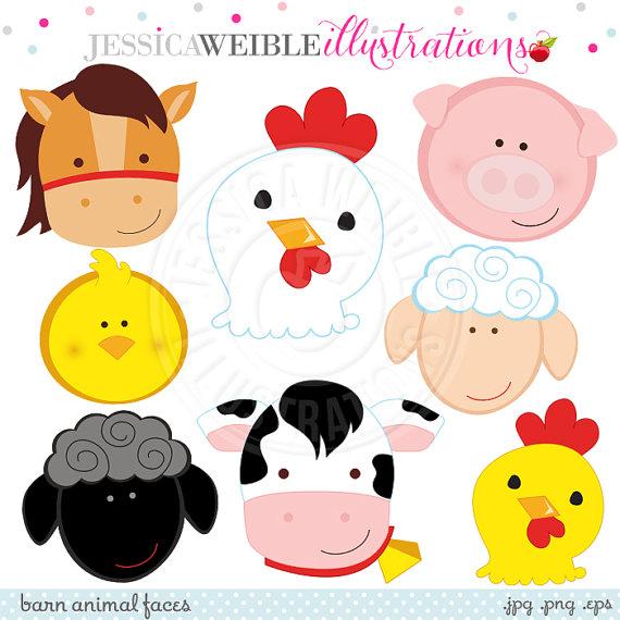 570x570 Barn Animal Faces Cute Digital Clipart