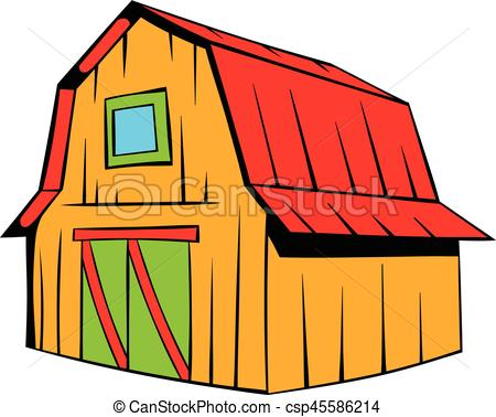450x378 Wooden Barn Icon Cartoon. Wooden Barn Icon In Cartoon Style