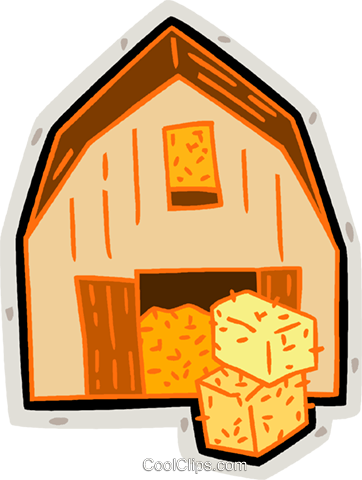 362x480 Barn, Hay Bales, Farm Royalty Free Vector Clip Art Illustration