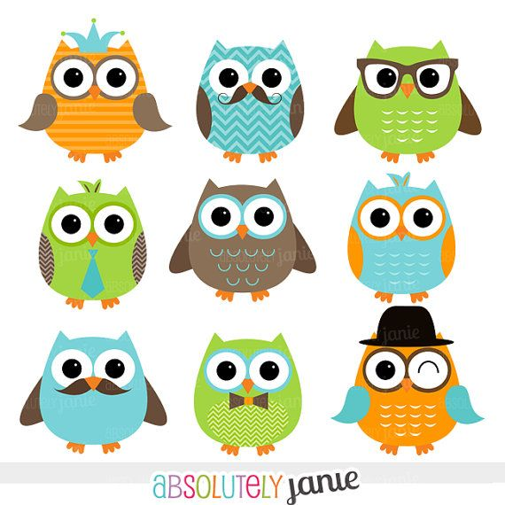 570x570 Boy Owls Orange Green Blue Digital Clipart