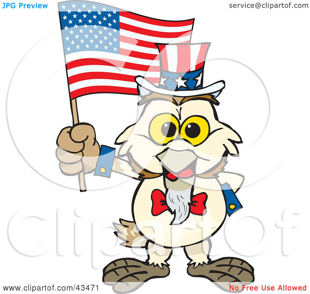 1080x1024 Clipart Illustration Of A Patriotic Uncle Sam Barn Owl Waving