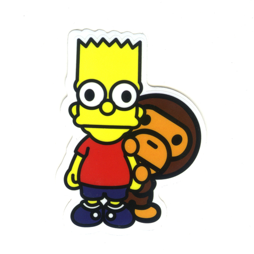 500x500 1285 Bart Simpson X Baby Milo , Height 8 Cm, Decal Sticker