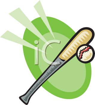 317x350 Clip Art Illustration Of A Baseball Bat And Ball In A Vector Clip