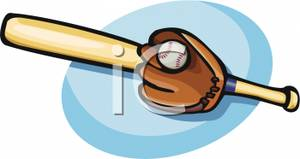 300x159 Clip Art Image A Baseball Bat, Ball, And Glove