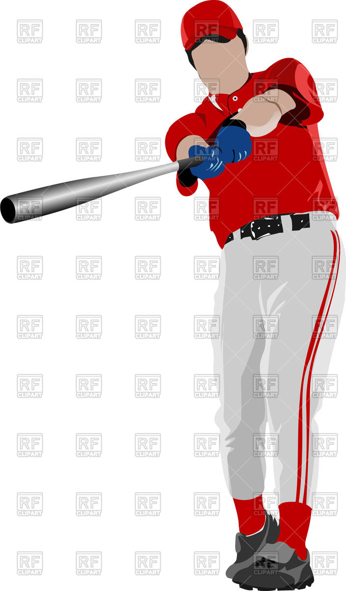 704x1200 Baseball Player Front View Royalty Free Vector Clip Art Image