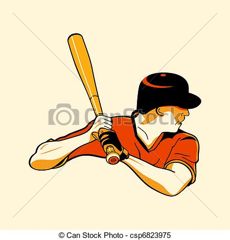 450x470 Baseball Hero. Baseball Batter In Retro Three Color Print