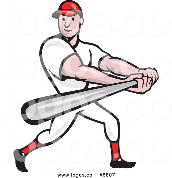 600x620 Royalty Free Clip Art Vector Logo Of A Baseball Player Batting By
