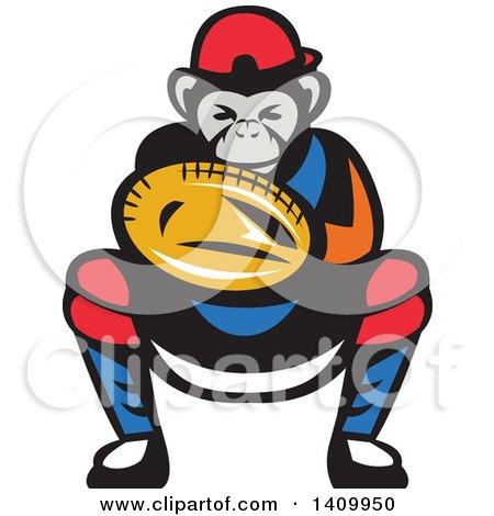 450x470 Clipart Of A Mad Chimpanzee Baseball Player Wearing Cap Backwards
