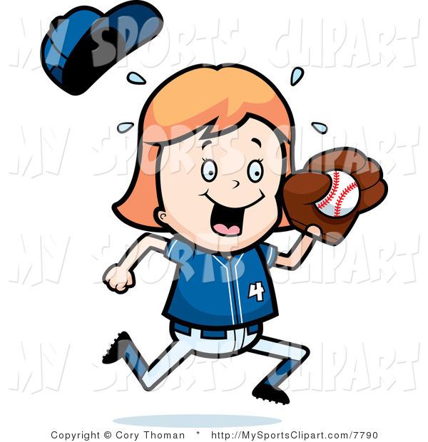 600x620 Sports Clip Art Of A Baseball Girl Catching A Ball By Cory Thoman