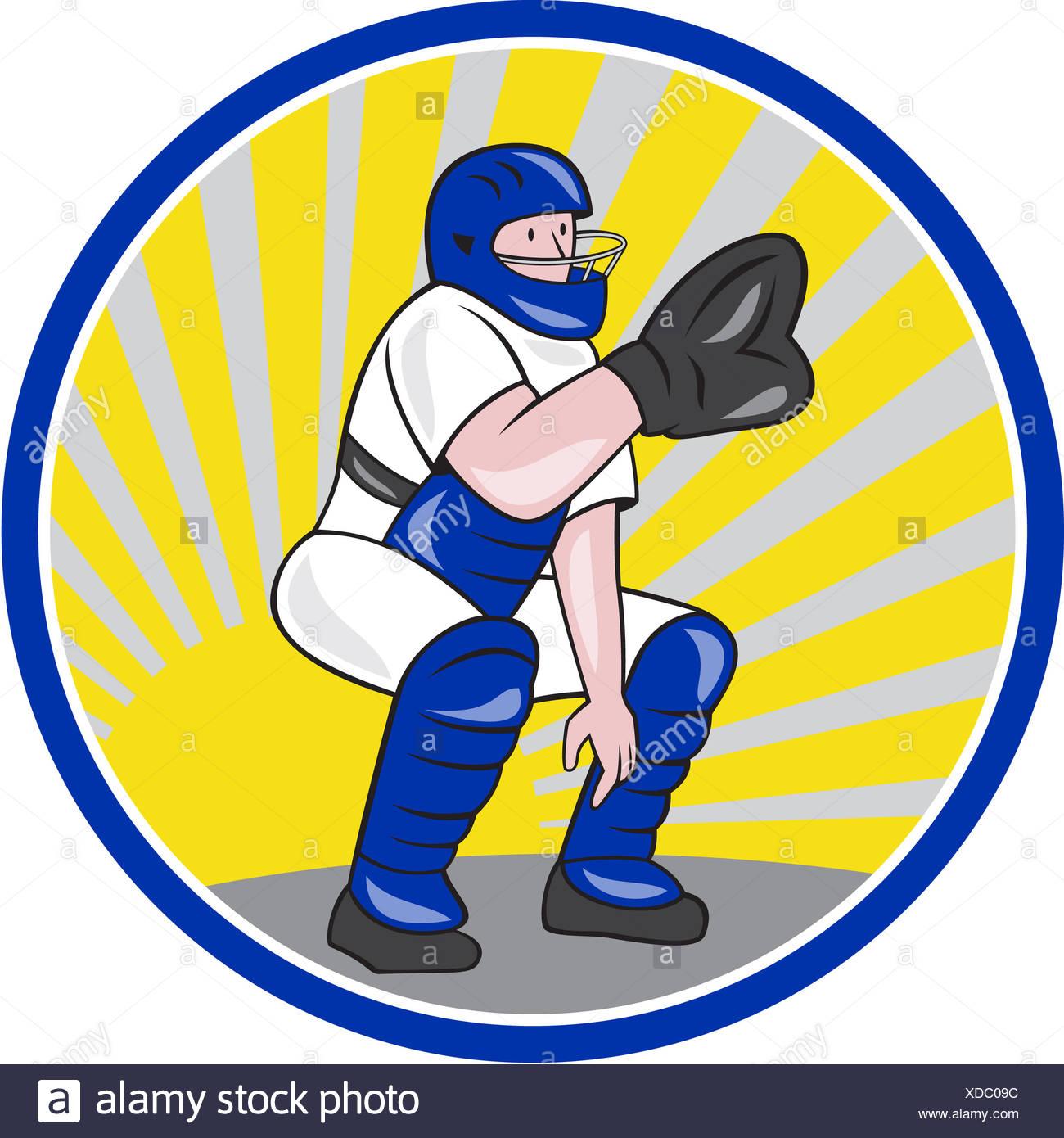 1300x1390 Baseball Catcher Catching Cartoon Stock Photos Amp Baseball Catcher