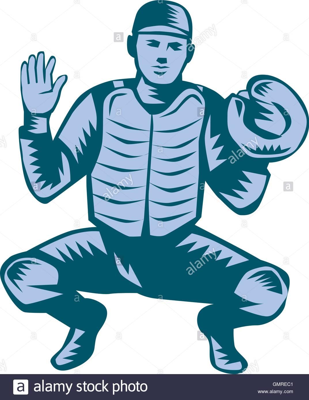 1073x1390 Baseball Catcher Gloves Woodcut Stock Vector Art Amp Illustration