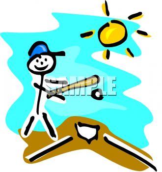 330x350 Royalty Free Clip Art Image Stick Figure Kid Playing Baseball