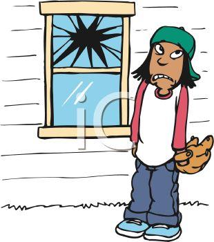 310x350 Royalty Free Clipart Image Boy Who Threw A Baseball Through A Window
