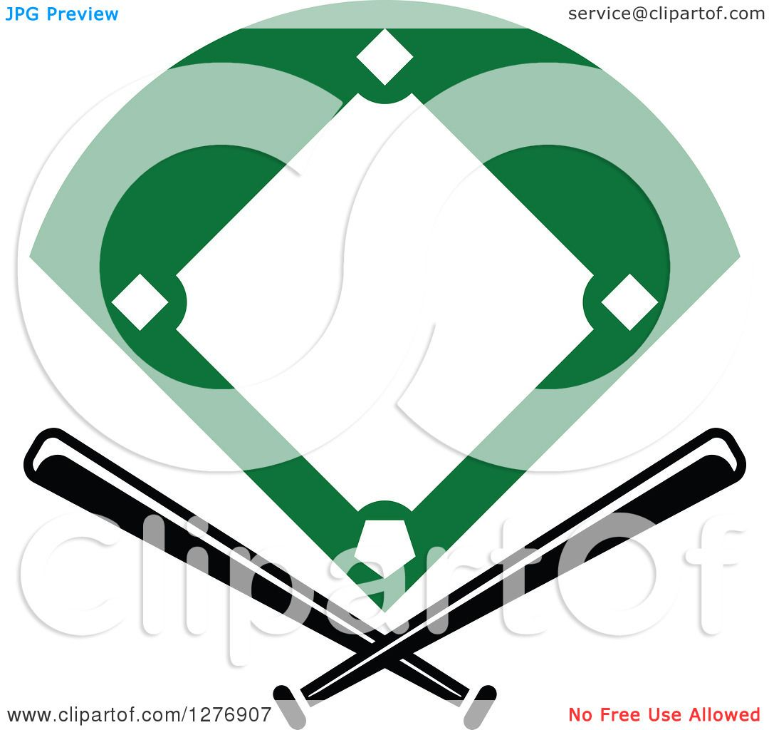 1080x1024 Clipart Of A Baseball Diamond Field With Crossed Bats