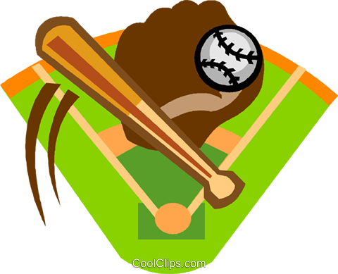 480x389 Baseball Diamond With Bat, Ball And Glove Royalty Free Vector Clip