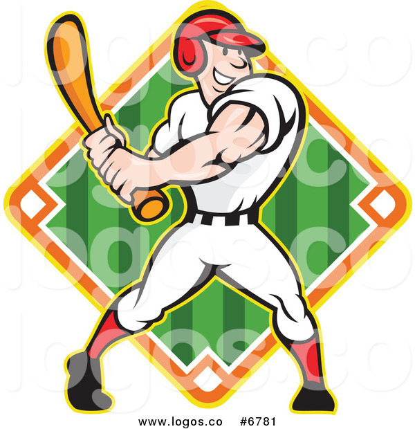 600x620 Royalty Free Clip Art Vector Logo Of A Baseball Player Batting