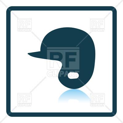 400x400 Shadow Reflection Design Of Baseball Helmet Icon Royalty Free