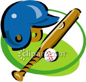 300x285 A Baseball Helmet, Bat And Ball
