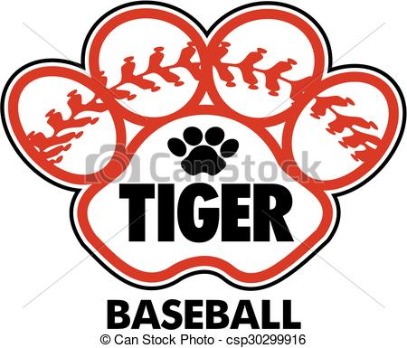 450x385 Tiger Baseball Design With Stitches Inside Paw Print Vector Clip