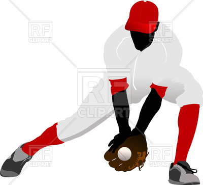 400x363 Silhouette Of Baseball Player Catch Ball Royalty Free Vector Clip