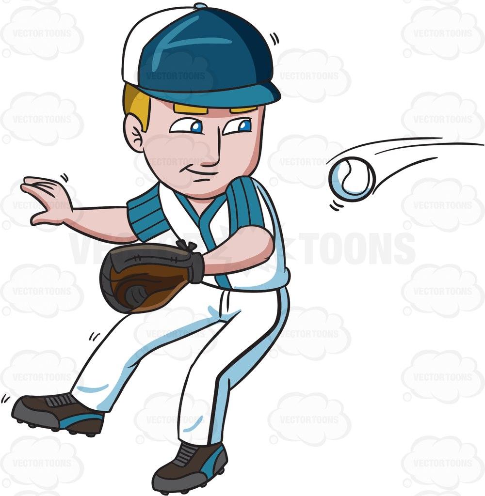 1000x1024 A Baseball Player Catching A Fast Ball Cartoon Clipart Vector Toons