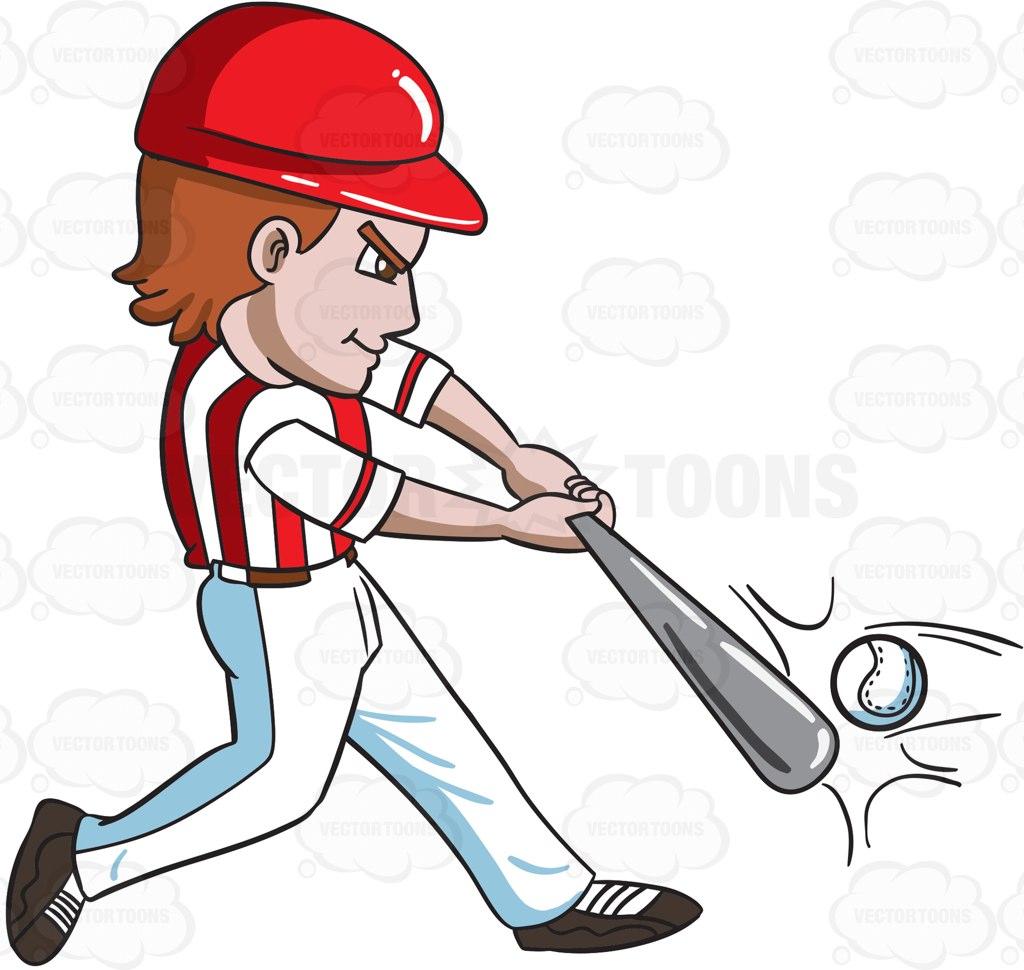 1024x970 A Baseball Player Hitting A Ball With A Bat Cartoon Clipart