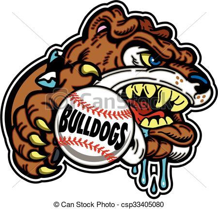 450x431 Bulldog Baseball Team Design With Mascot For School, College