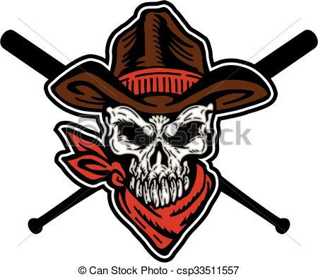450x392 Cowboy Skull Baseball Mascot Team Design With Crossed Bats