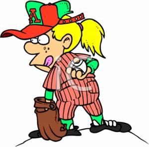 300x297 Cute Clipart Cartoon Of A Girl Pitching For A Baseball Team