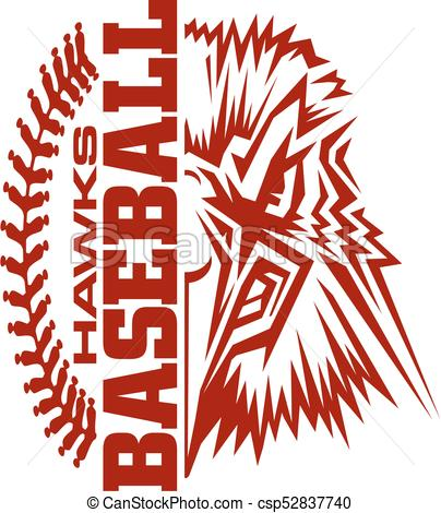 404x470 Hawks Baseball Team Design With Stitches And Half Mascot